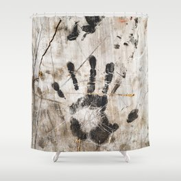 Grunge Wall Imprints Shower Curtain