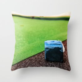 Blue pool chalk leaning on the edge of the pool table Throw Pillow