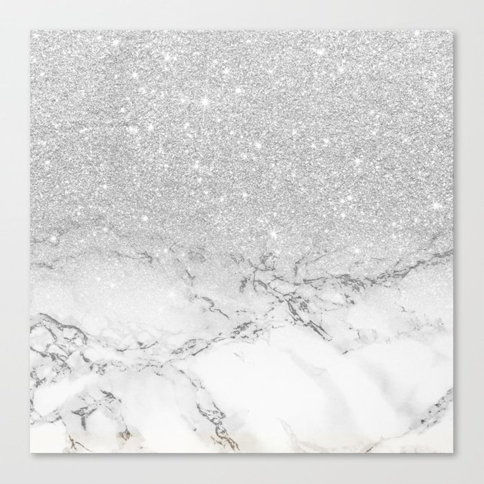 4fb17f23885 Modern faux grey silver glitter ombre white marble Canvas Print by ...