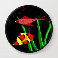 scuba Wall Clocks featuring Scuba by Happy Fish Gallery