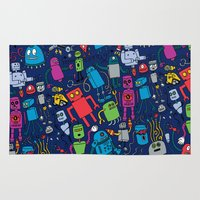 robots Area & Throw Rugs featuring Robots Forever! by Chris Piascik