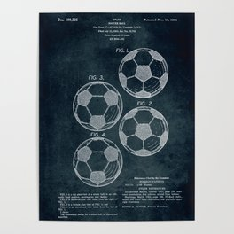1963 - Soccer Ball patent art Poster
