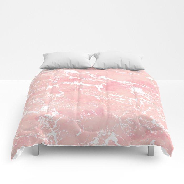Modern pastel blush pink watercolor marble pattern Comforters