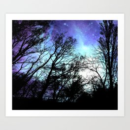 Black Trees Periwinkle Blue Aqua Space Art Print