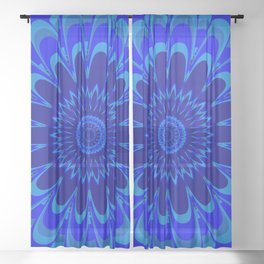 Summer Mandala Full Bloom Celebration in Vibrant Blue Sheer Curtain