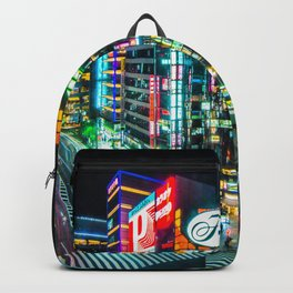 Tokyo neon lights at night  Backpack