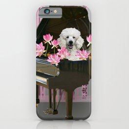 Piano with Poodle and Lotus Flower Blossoms iPhone Case