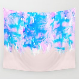 Girly Pastel Pink and Blue Watercolor Paint Drips Wall Tapestry