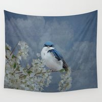 swallow Wall Tapestries featuring Tree Swallow by TaLins