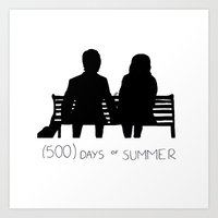 500 days of summer Art Prints featuring (500) Days of Summer by ☿ cactei ☿