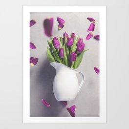 Levitating purple tulips against old concrete background Art Print