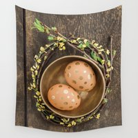 eggs Wall Tapestries featuring Golden eggs by Elisabeth Coelfen