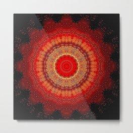 Vibrant Red Gold and black Mandala Metal Print