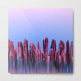 Dreamy Sunrise Cactus Landscape Glitch Metal Print