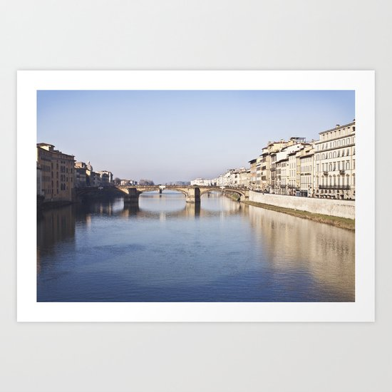 The Arno, from Ponte Vecchio - Florence, Italy Art Print