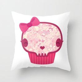 Cupcake Skull Throw Pillow
