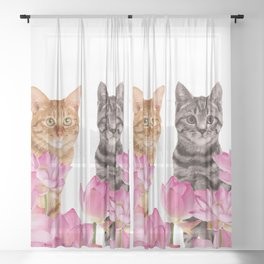 Red and Tiger cat in Lotos Flower Field Sheer Curtain