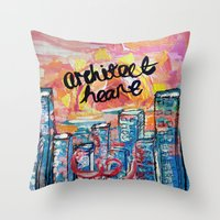 architect Throw Pillows featuring Architect Heart by Anwar B