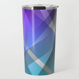 Transparent Abstract Geometric Shapes Purple and Teal Travel Mug