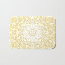 White Lace Mandala on Sunshine Yellow Background Bath Mat