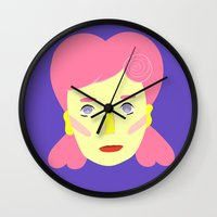 death cab for cutie Wall Clocks featuring Cutie by Grace Teaney Art