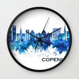 Copenhagen Denmark Skyline Blue Wall Clock