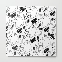 Black white hand drawn wolf floral typography Metal Print
