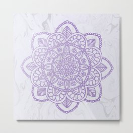 Lavender Mandala on White Marble Metal Print