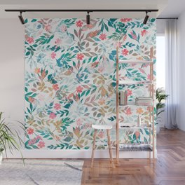 Vintage floral & Foliage Distressed Paint design Wall Mural