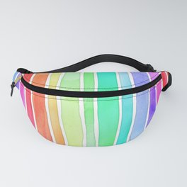 Bright Rainbow Colored Watercolor Paint Stripes Fanny Pack