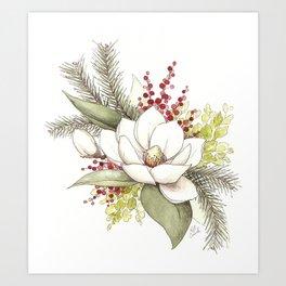 Christmas Magnolia Watercolor Art Print