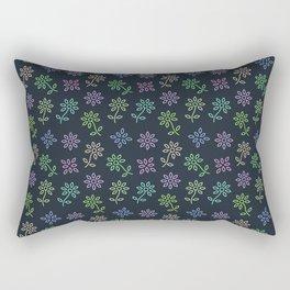 Floral Flower Pattern in Blue Rectangular Pillow