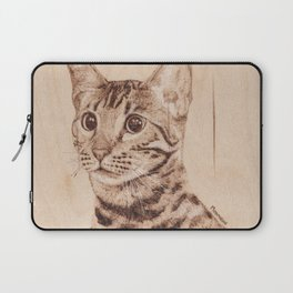 Bengal Cat Portrait - Drawing by Burning on Wood - Pyrography art Laptop Sleeve