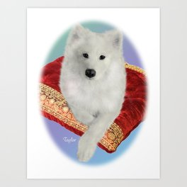Samoyed Portrait; Taylor on Royal Cushion--Oval Art Print