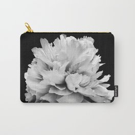 Black And White Peony Print Carry-All Pouch