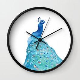 Peacock, teal bird, watercolor painting, home decor Wall Clock