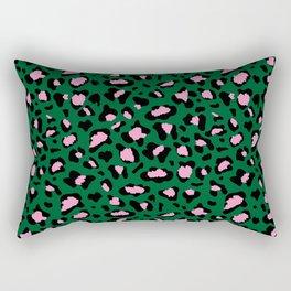 Leopard Print - green and pink Rectangular Pillow