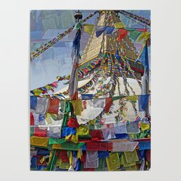 NEPALI PRAYERS CARRIED BY THE WIND FROM FLAGS Poster