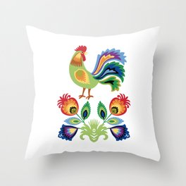 Polish Rooster and flowers Throw Pillow