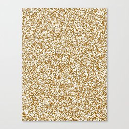 Tiny Spots - White and Golden Brown Canvas Print