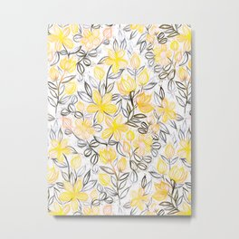 Sunny Yellow Crayon Striped Summer Floral Metal Print