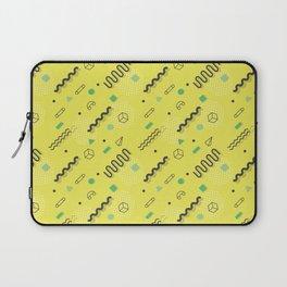Modern lime green black geometric 80s pattern Laptop Sleeve