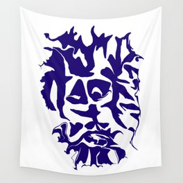 face1 blue Wall Tapestry
