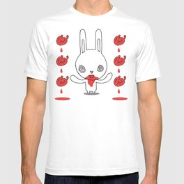 Heart Conjuring Bunny Rabbit - funny cartoon drawing with blood and magic! T-shirt