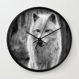 White Wolf in the Forest Wall Clock