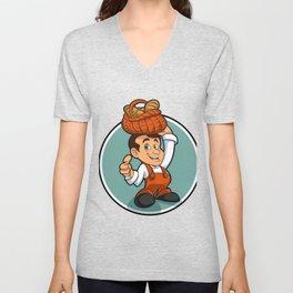 Happy little baker cartoon character Unisex V-Neck