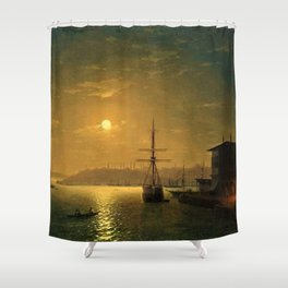 Constantinople (Istanbul) by Moonlight by Ivan Aivazovsky Shower Curtain