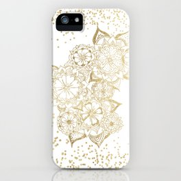 Hand drawn white and gold mandala confetti motif iPhone Case