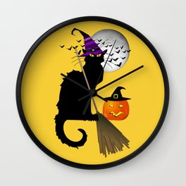 Le Chat Noir - Halloween Witch Wall Clock