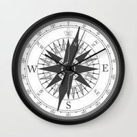 compass Wall Clocks featuring Compass by Ffrind